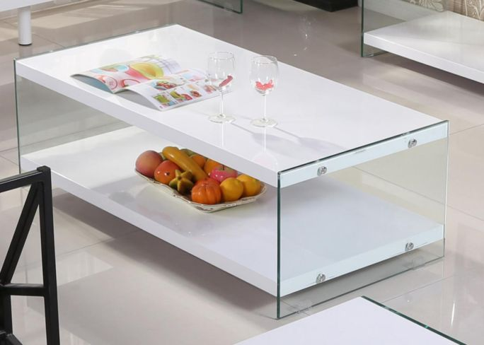 Marco White High Gloss & Glass Coffee Table