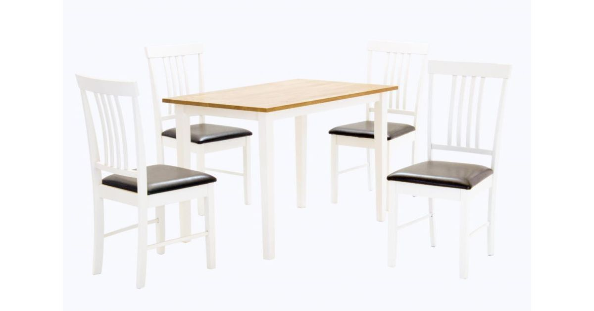 Massa White Dining Set with 4 Chairs Oak & White