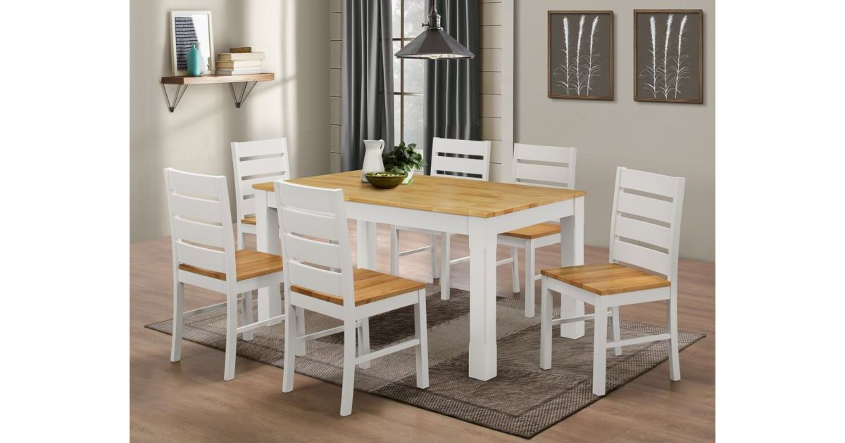Fairmont White Dining Table Set With 6 Chairs