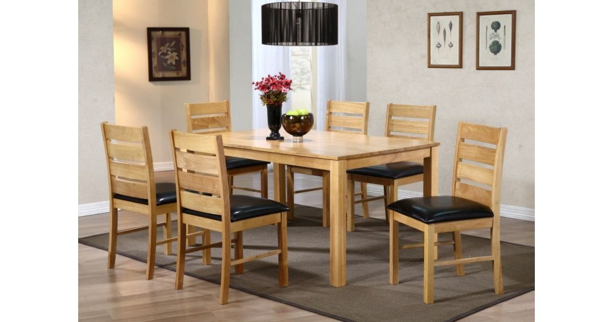 Fairmont Natural Dining Table Set With 6 Chairs
