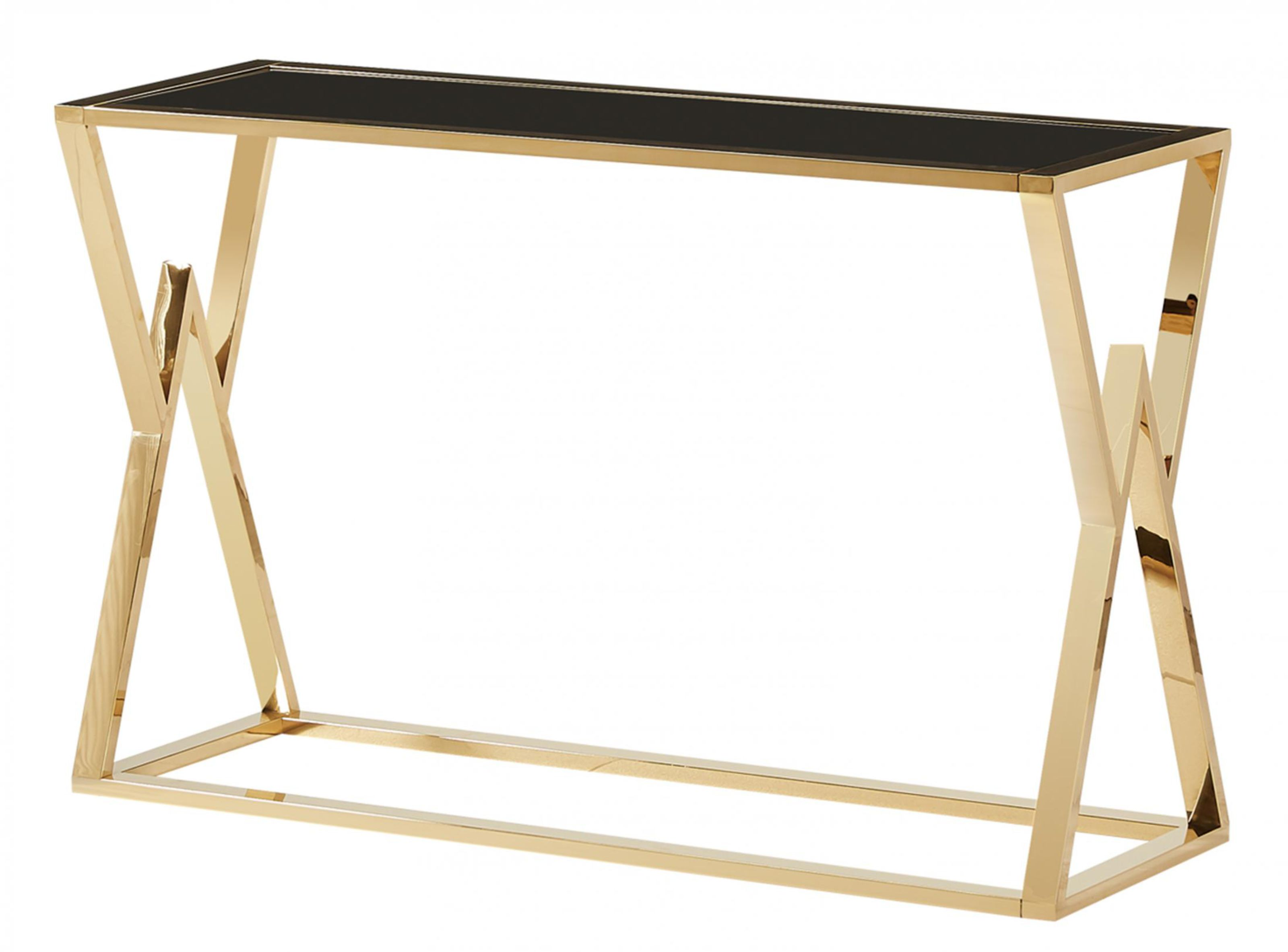 Picture of: Michelle Black Glass Top Console Table With Gold Frame Designer Sofas4u