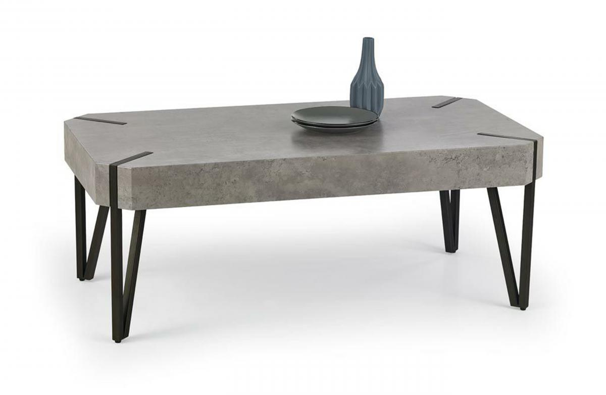 Miles Stone Effect Coffee Table With Black Metal Legs Designer Sofas4u