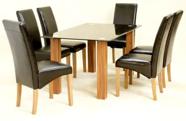 Mirage Dining Table in Black Glass with 6 chairs