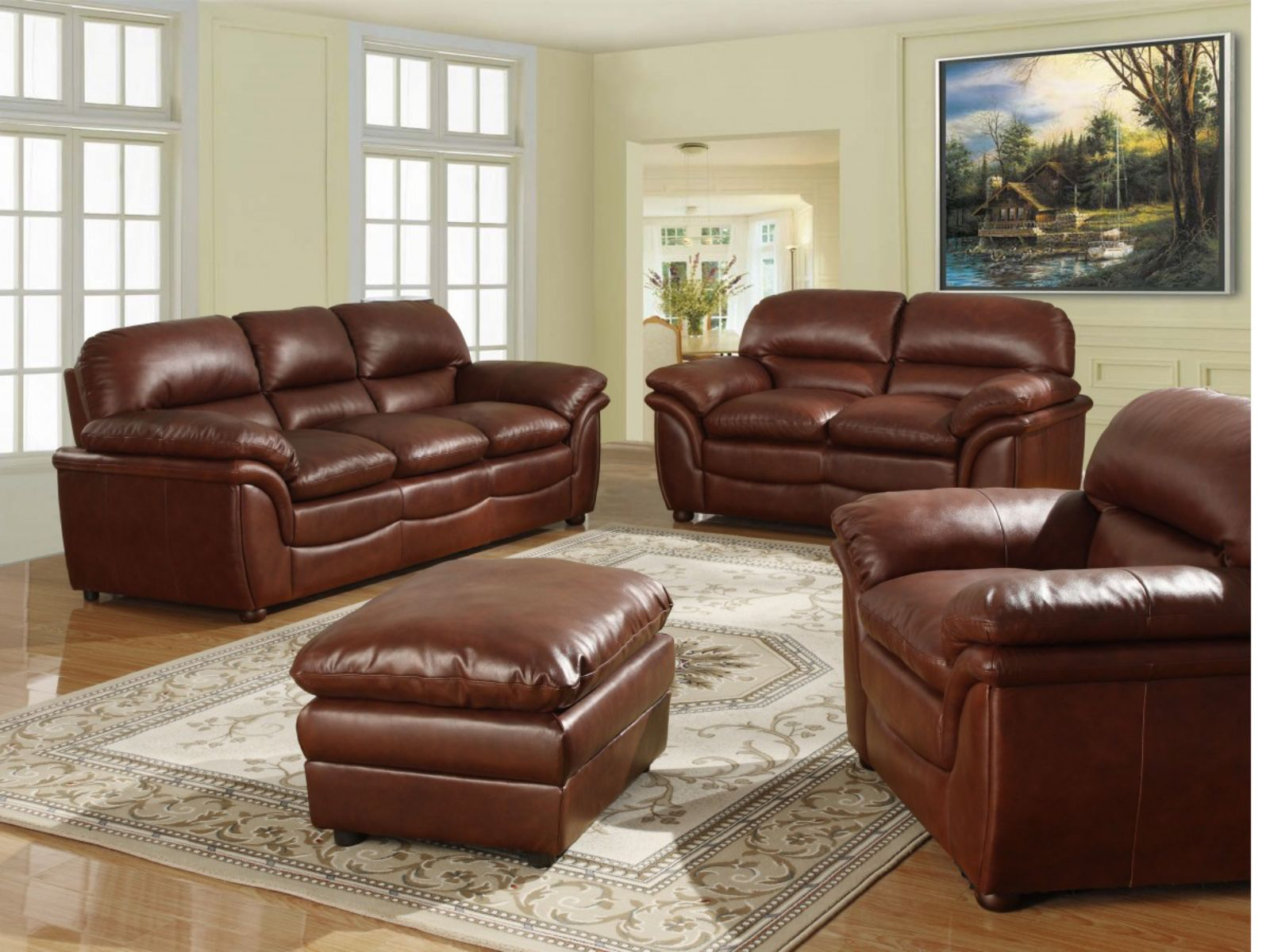 Fernando 3+1+1+Footstool Sofa Leather Suite Available In Brown Soft Leather