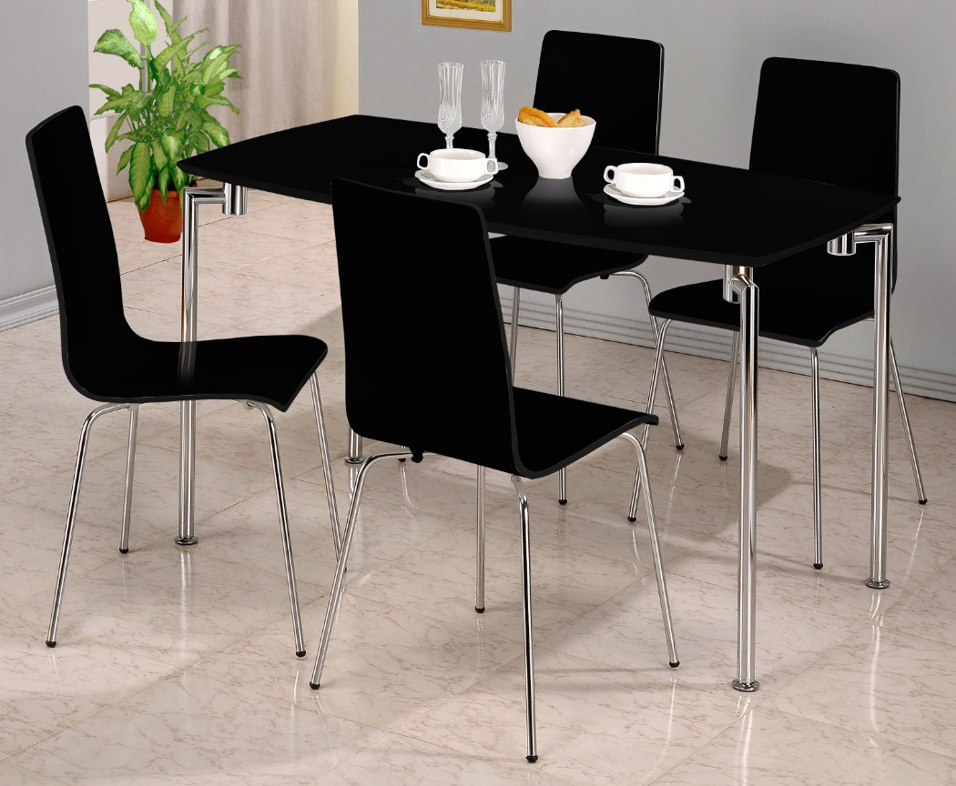 Fiji Black High Gloss Rectangular Dining Table With 4 Chairs