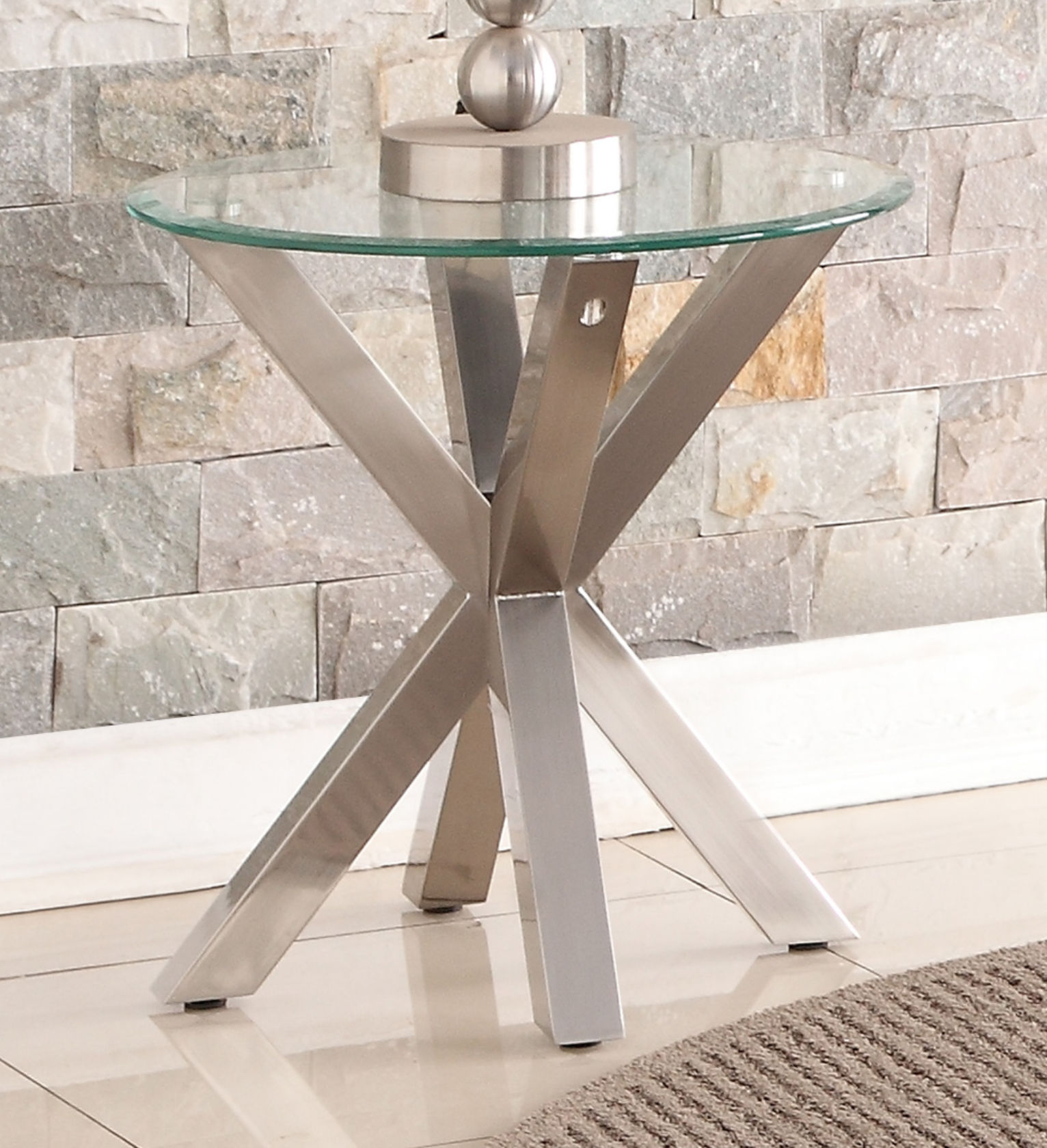 Nelson Lamp Table with Brushed Stainless Steel