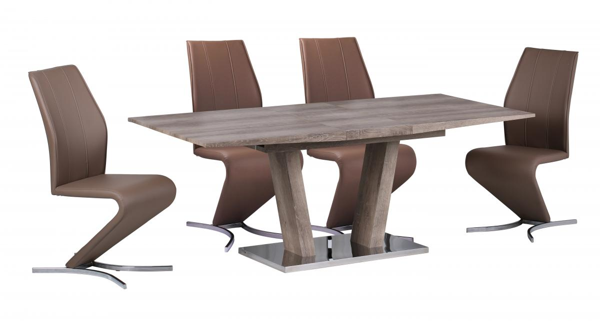 geneva extending dining table with stainless steel base