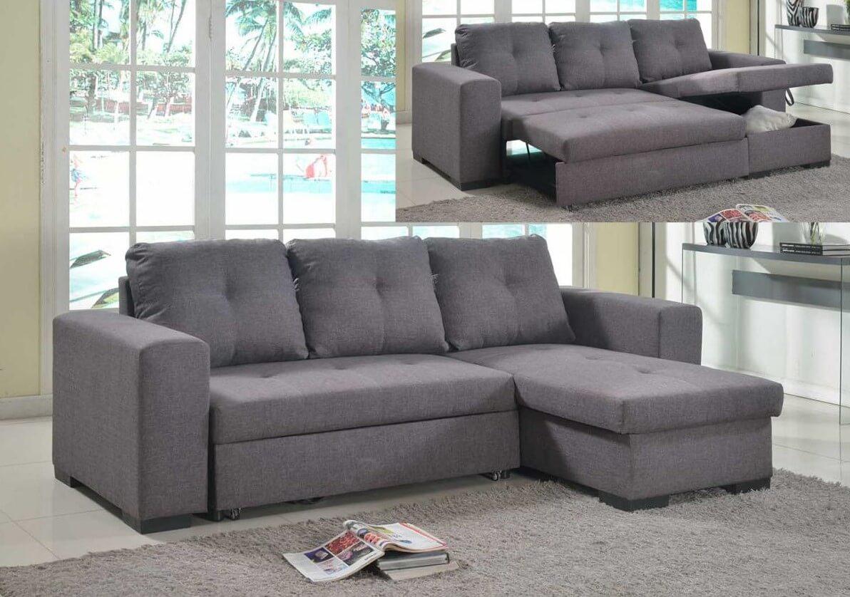 Picture of: Nicola Grey Linen Fabric Chaise Sofa Storage Bed Designer Sofas4u