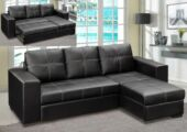 Gianni Storage Chaise Sofa Bed Bonded PU Black