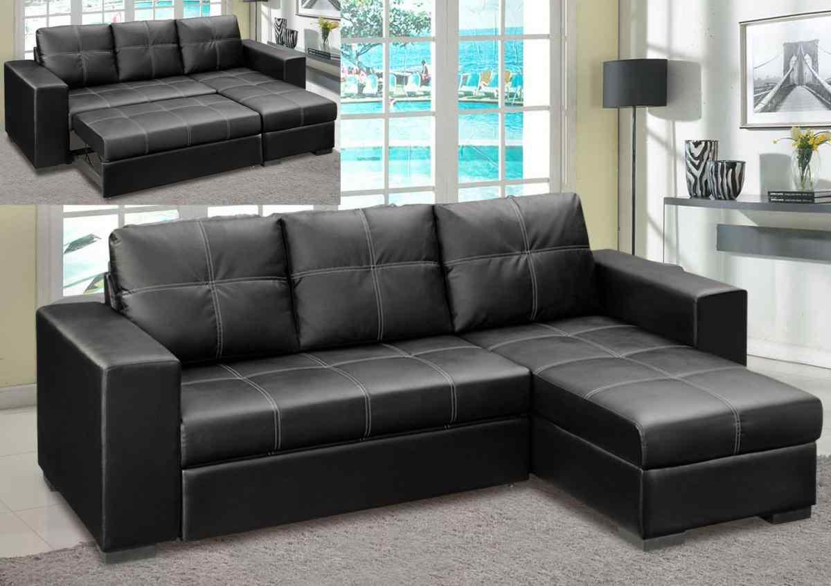 Picture of: Nicola Pu Bonded Black Storage Chaise Sofa Bed Designer Sofas4u