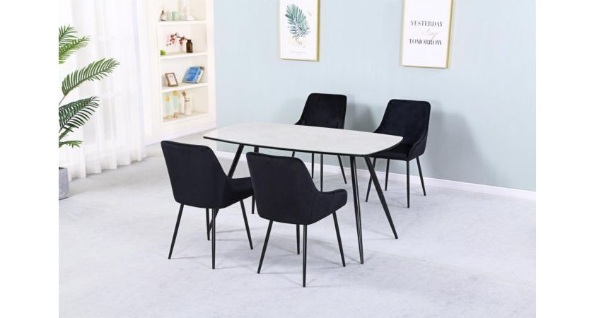 Oria Marble Effect Glass Top Dining Table With Black Metal Legs Designer Sofas4u