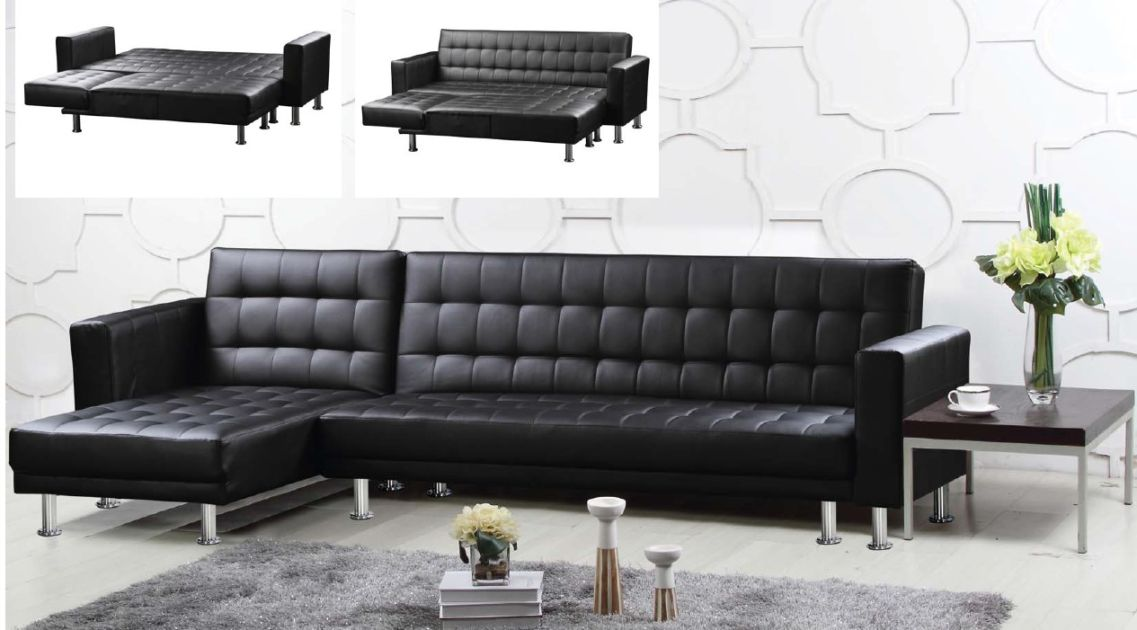 Hawthorn Multifunctional Sofa Black Faux Leather