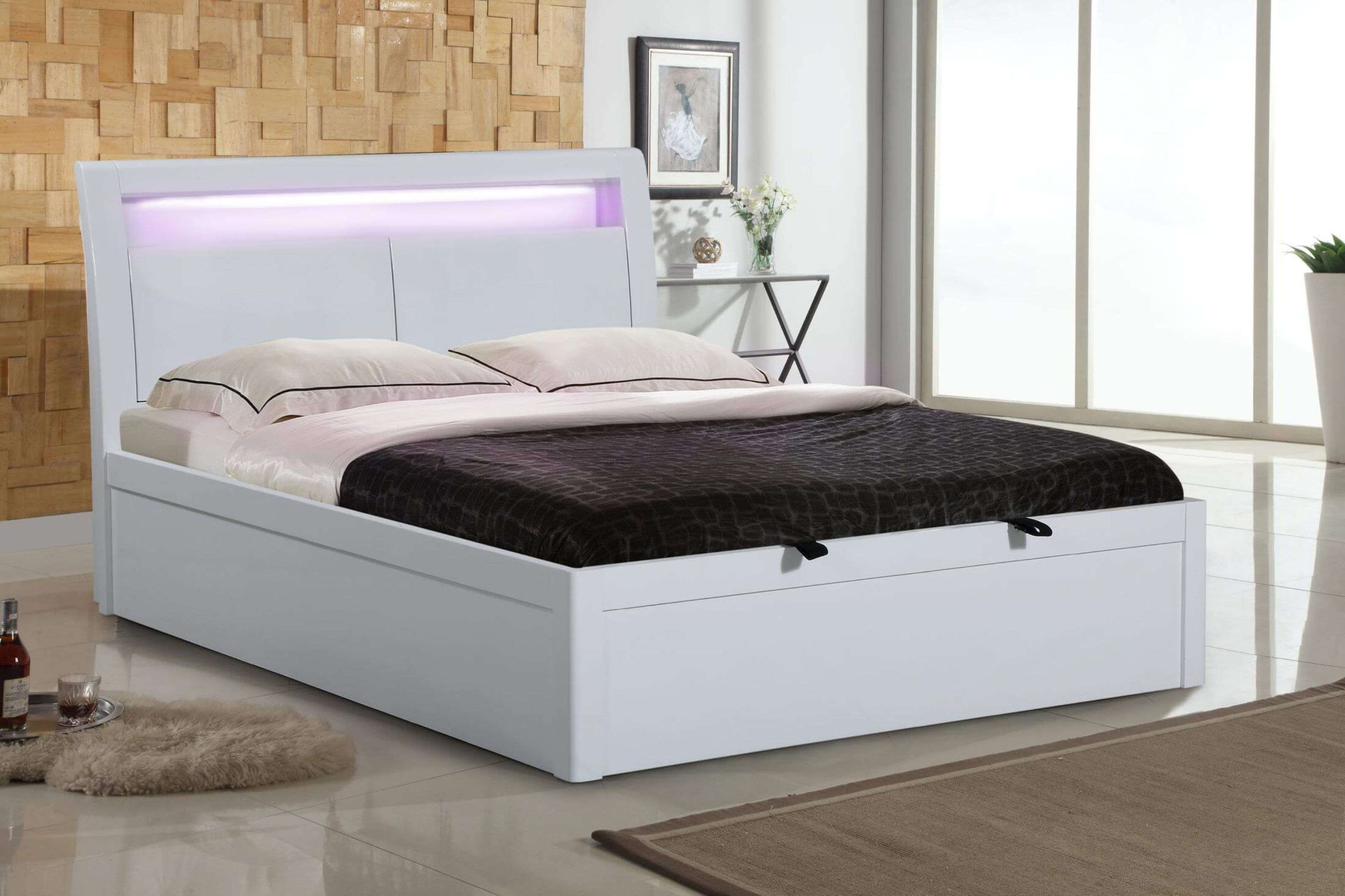 Picture of: Paulina White High Gloss Double Storage Bed Designer Sofas4u