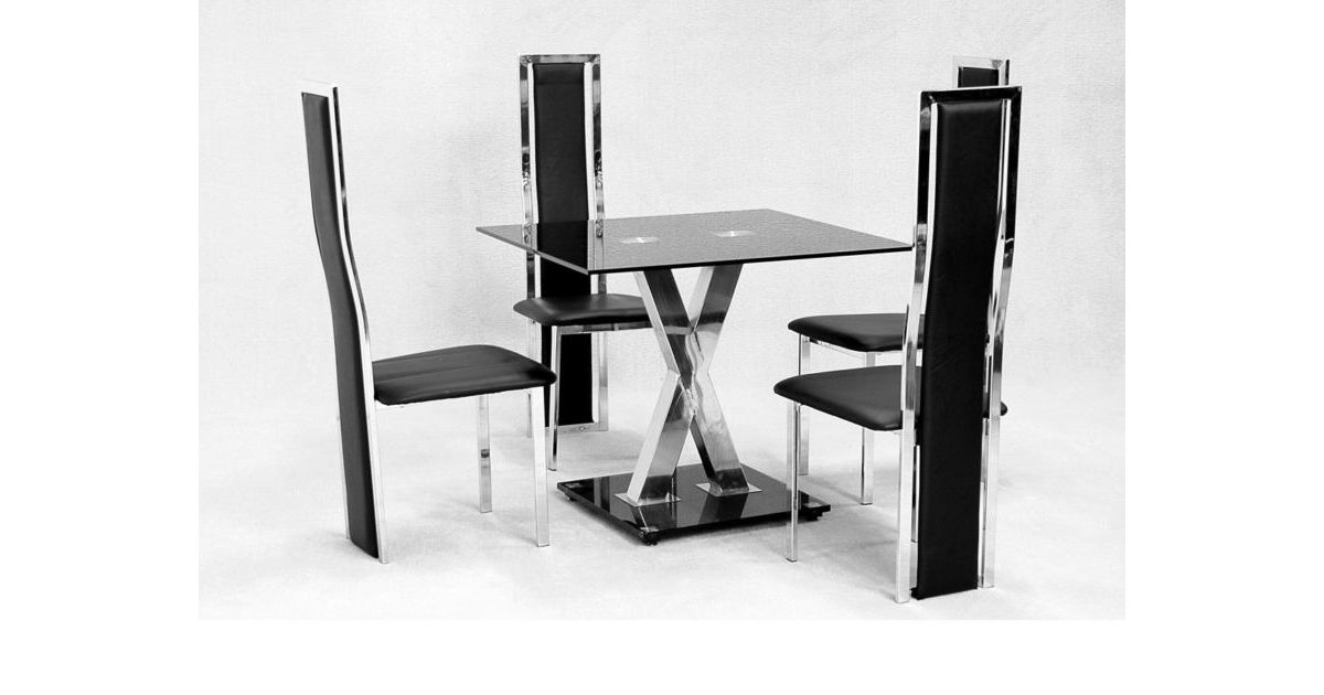 Small 2 Seater Table: 4 Seat Glass Dining Table Set