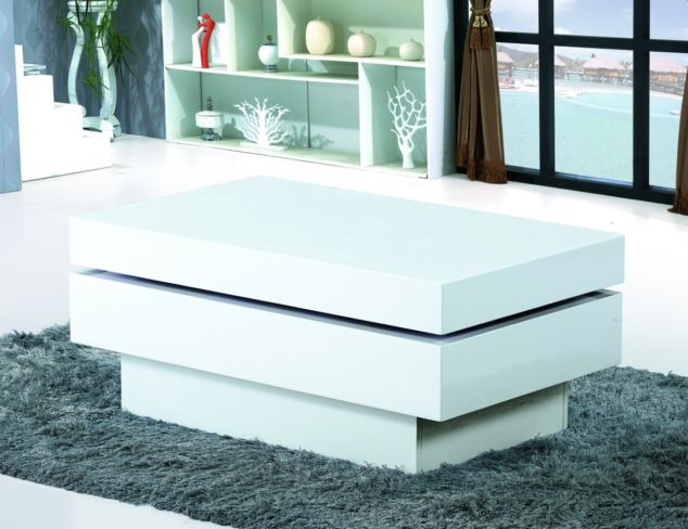 Preston White High Gloss Movable Coffee Table