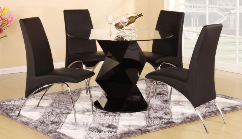 Rowley Black High Gloss Dining Set with 4 Chairs