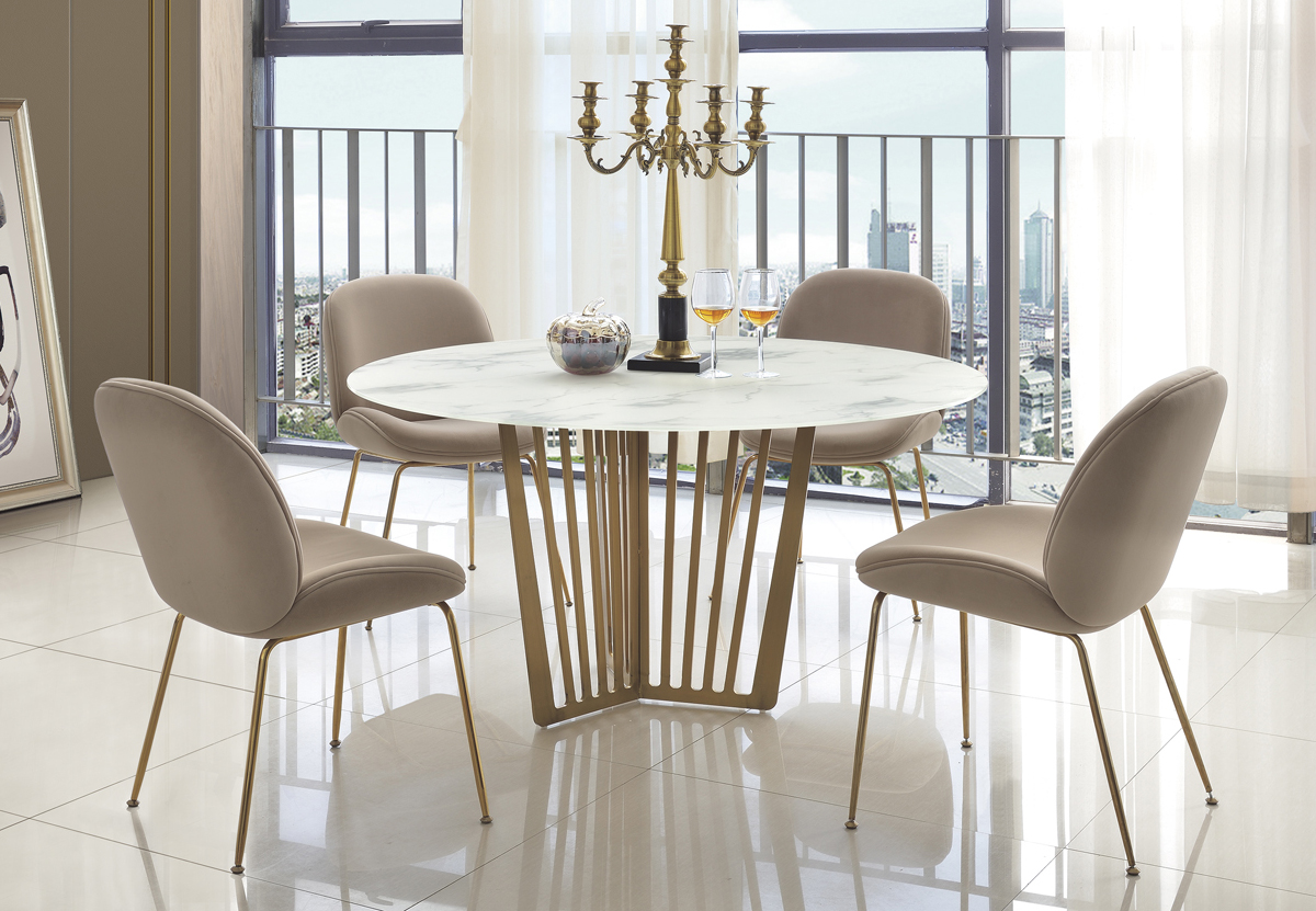 Sabrina Sand Colour Velvet Fabric Dining Chair With Stainless Steel Gold Legs Designer Sofas4u