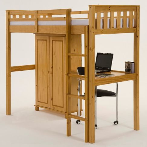 Salvador High Sleeper 3'0'' Single Bunk with Storage in Light Antique Pine Finish