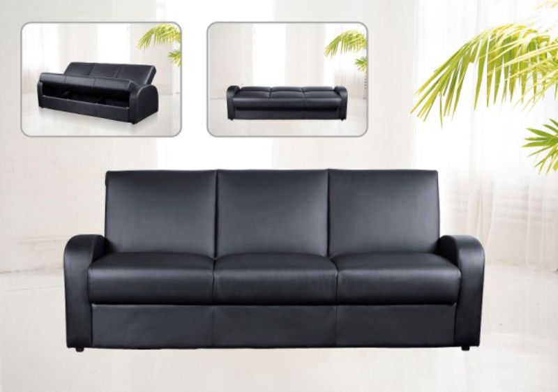 Kimberley Leather Sofa Bed Available In Black, Brown Or Cream