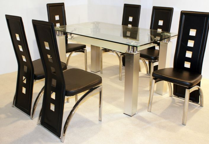 San Francisco Dining Table in Clear Glass with 6 Black, Cream Or Brown Dining Chairs