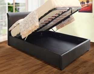 Savona Storage 3'0'' Single Bedstead Available in Black Or Brown Faux Leather
