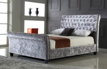 Serenity Crushed Velvet King Size Bed Silver