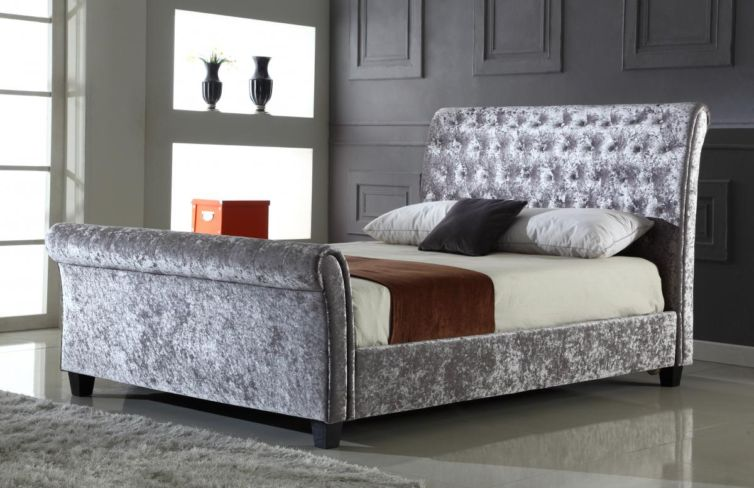 Serenity Crushed Velvet Double Bed Silver