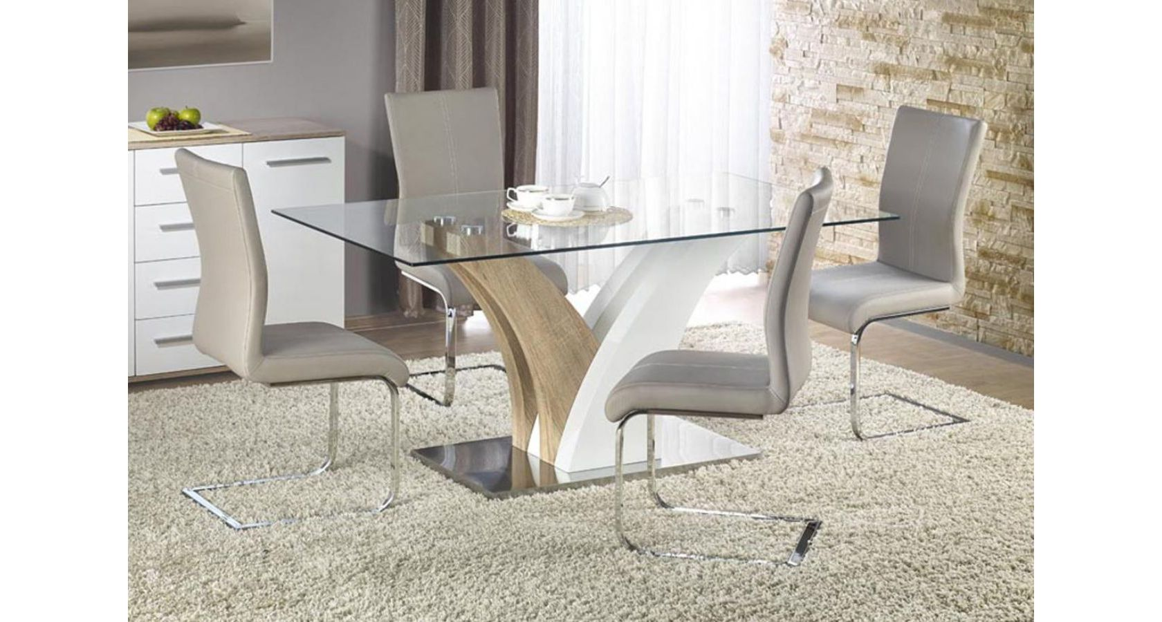 Simone HG Dining Set with 6 Chairs