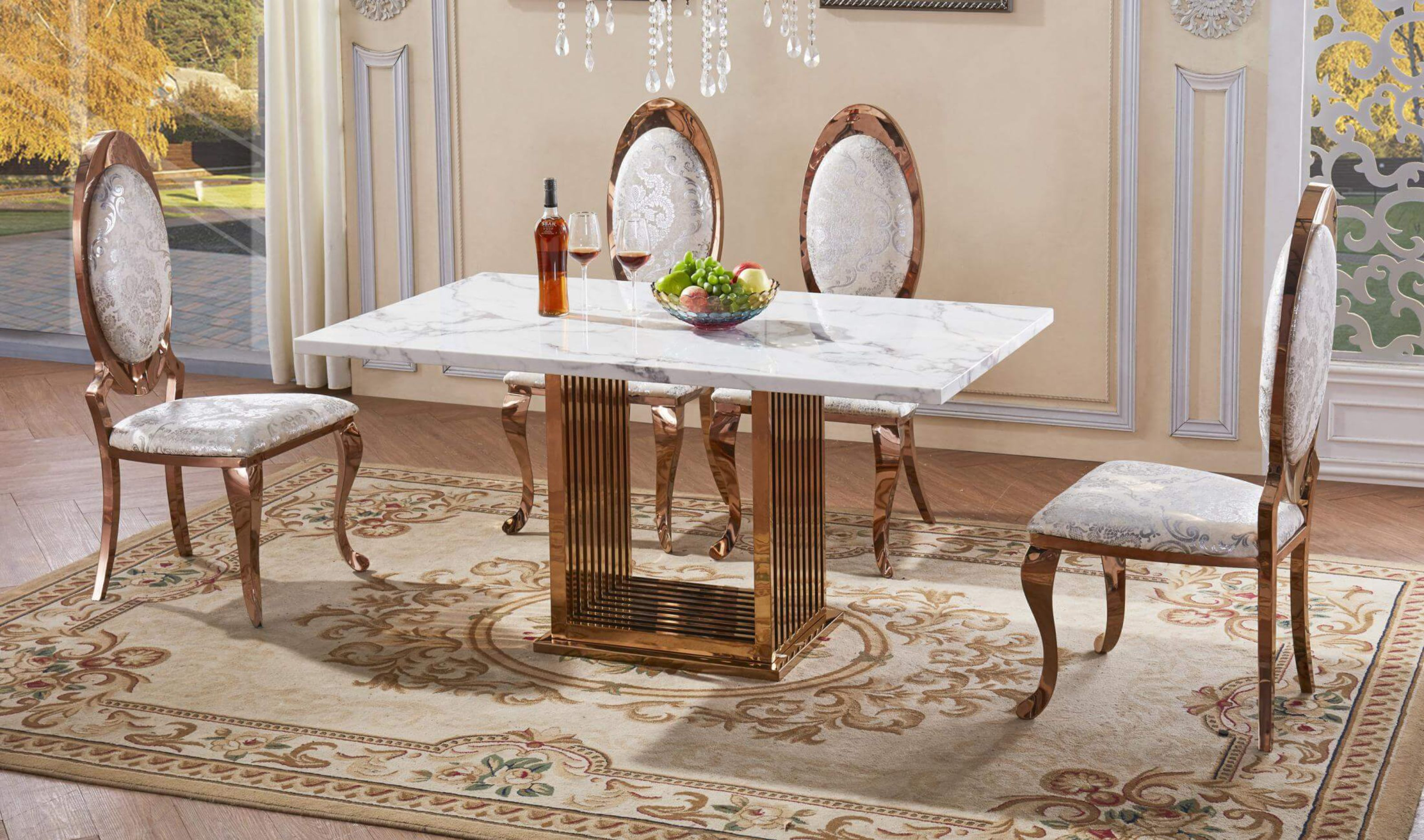 Soren White Marble Effect Dining Table With Rose Gold Stainless Steel Base Designer Sofas4u