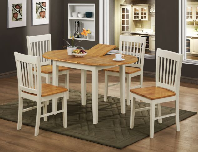 Stacey Oak And White Dining Table With 4 Chairs