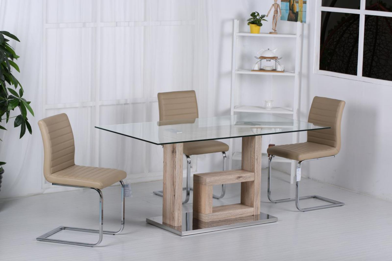Lucia Glass Dining Table Natural