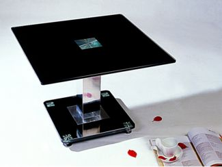 Trinity Lamp Table in Black Glass