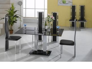 Trinity Large Dining Table in Black Glass with 6 Black Or Cream Trinity Dining Chairs
