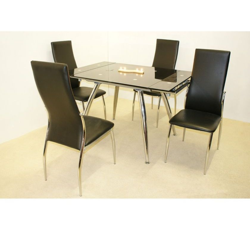Magna Extending Dining Table in Black Glass