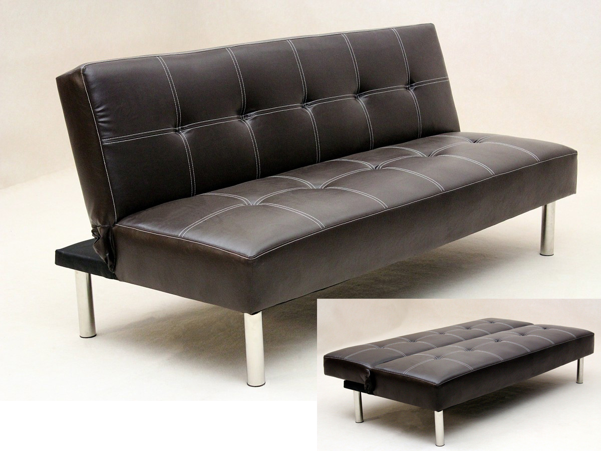 Picture of: Torberta 3 Seater Faux Leather Pvc Sofa Bed With Chrome Legs Designer Sofas4u
