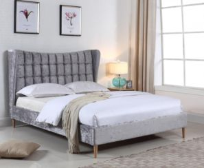 Mahala Crushed Velvet Double Bed Silver