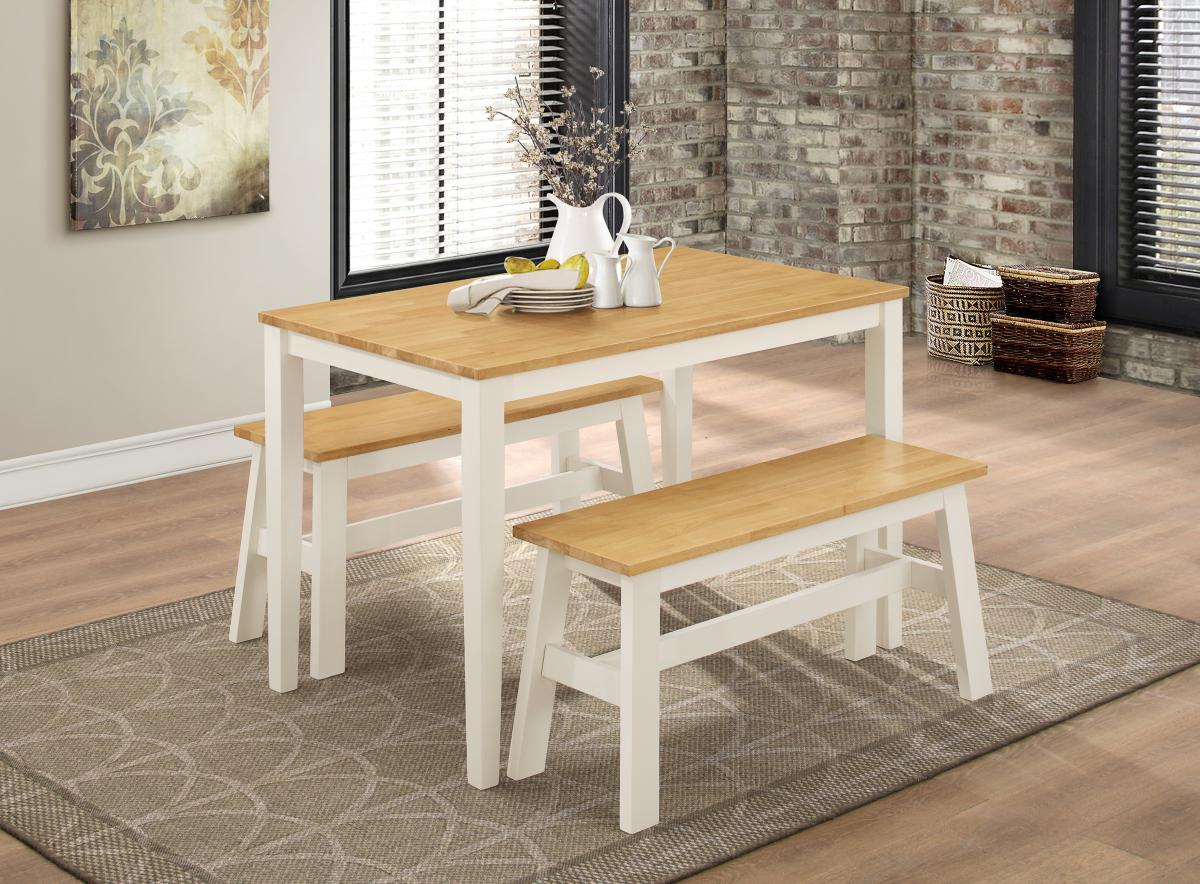 1140W x 680D x 750H Natural Oak /& White Washington Dining Set with 2 Benches Nat Oak /& White Bench: 950W x 300D x 450H Solid Rubberwood Dining Room Furniture