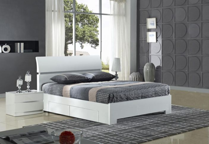 Widney White High Gloss Bed King Size with 4 Drawers
