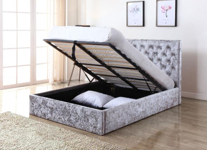 Yasmin Storage Crushed Velvet King Size Bed Silver
