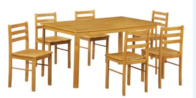 York Large Dining Table Set With 6 Dining Chairs