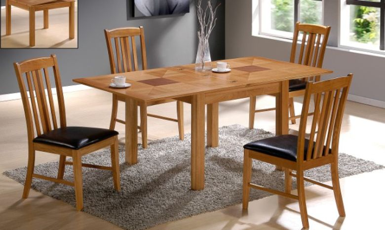 Yukon Extending Wooden Dining Table Set With 4 Solid Oak Chairs