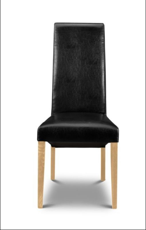 2 x Artemis Dining Chairs Black Faux Leather With Oak Finish Legs