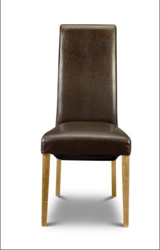 6 x Artemis Dining Chair Brown Faux Leather With Oak Legs