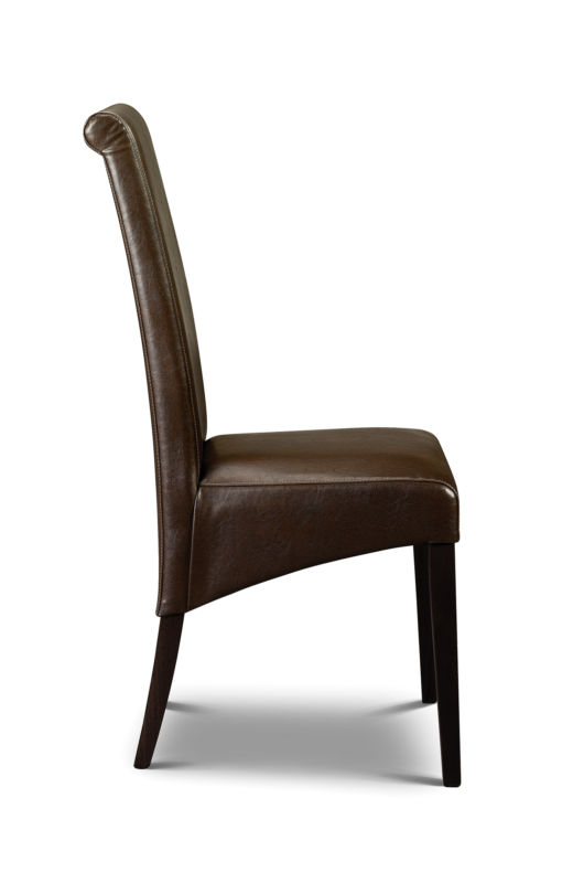 2 x Artemis Dining Chairs Brown Faux Leather With Wenge Legs