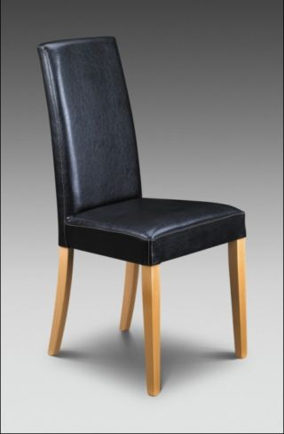 2 x Athena Dining Chairs Black Faux Leather