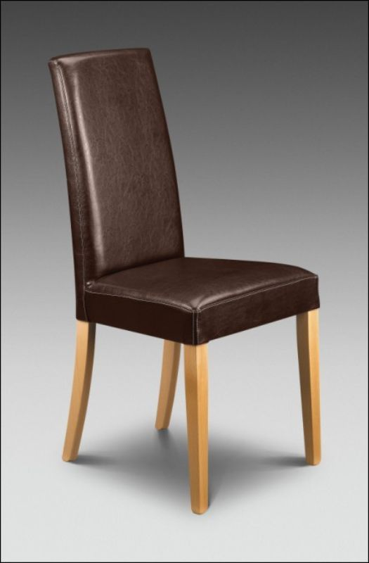 2 x Athena Dining Chairs Brown Faux Leather