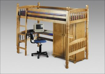 Child Bunk Bed with Desk Antique Pine