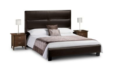 Elite Double High Bed Brown Faux Leather
