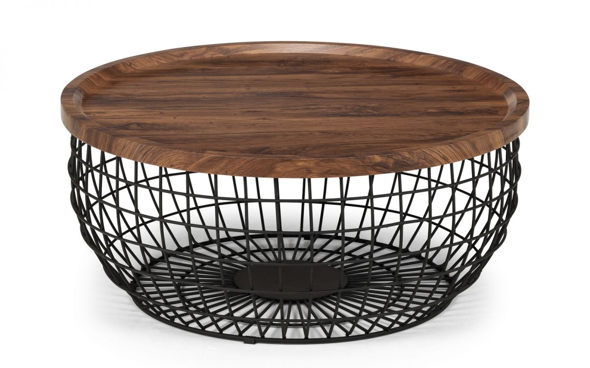 Picture of: Borg Walnut Effect Top Storage Coffee Table With Black Wire Base Designer Sofas4u