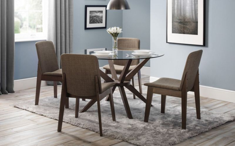 Superb Chelsea Glass Dining Set Table 4 Kensington Fabric Chairs Andrewgaddart Wooden Chair Designs For Living Room Andrewgaddartcom